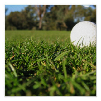 Golf Ball on Course Poster