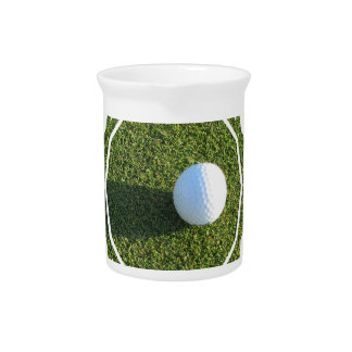Golf Ball on Golf Green Pitcher