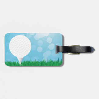 golf ball on grass luggage tag