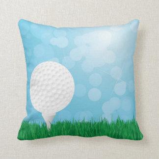 golf ball on grass throw pillow