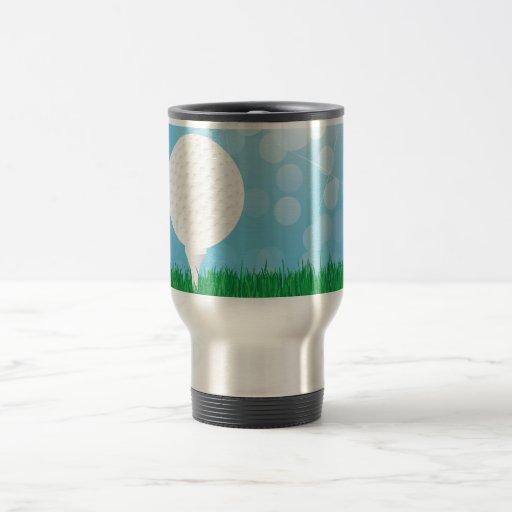 golf ball on grass travel mug