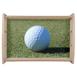 Golf Ball on Green close-up photo Serving Tray