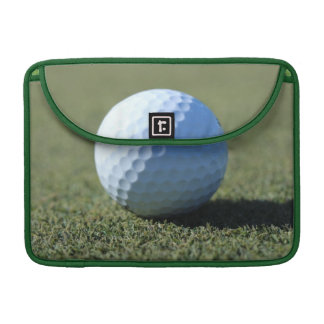 Golf Ball on Green close-up photo Sleeve For MacBooks