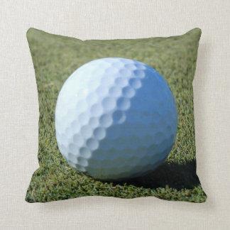 Golf Ball on Green close-up photo Throw Pillow