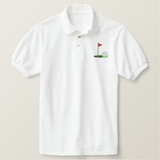 Golf Ball On Green Embroidered Shirt