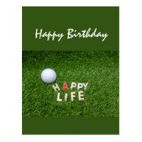 Golf ball on green grass birthday wishes Card