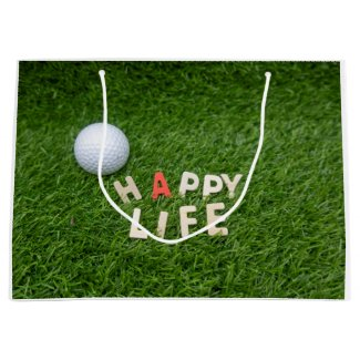 Golf ball on green grass happy life happy birthday large gift bag