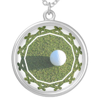 Golf Ball on Green Necklace