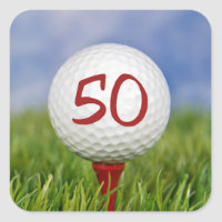 golf ball on red tee 50th birthday square sticker