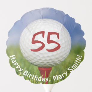 Golf Ball On Red Tee For 55th Birthday Balloon