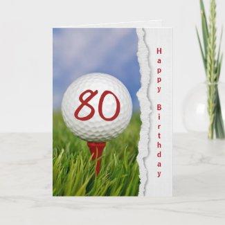 golf ball on tee for 80th birthday card