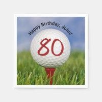 Golf ball on tee for 80th birthday napkin