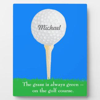 Golf Ball on Tee Photo Plaques