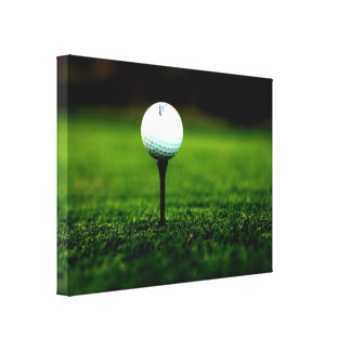 Golf Ball on Tee, Rich Green Turf Canvas Print