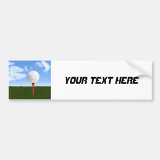 Golf Ball on Tee, Sky & Grass Bumper Sticker