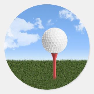 Golf Ball on Tee, Sky & Grass Classic Round Sticker
