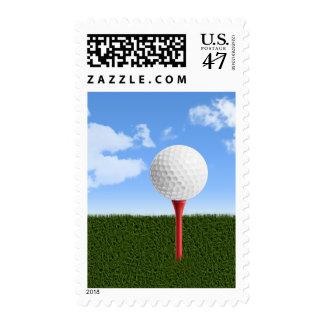 Golf Ball on Tee, Sky & Grass Postage