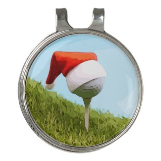 Golf ball on tee with Santa hat for Christmas Golf Hat Clip