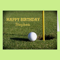 Golf Ball on the Green Birthday Custom Card