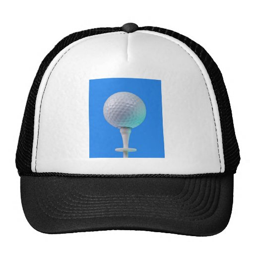 golf ball on white tee hats