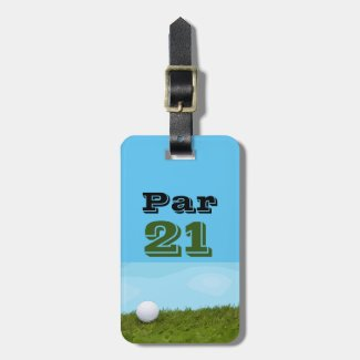 Golf ball Par 21 for golfer 21st birthday Luggage Tag
