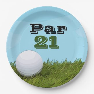 Golf ball Par 21 for golfer 21st birthday Paper Plate