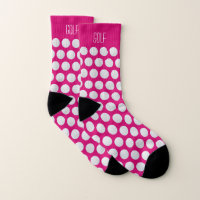 Golf ball pattern custom text pink socks