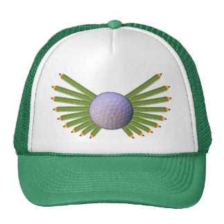 Golf Ball Pencil Wings Trucker Hat