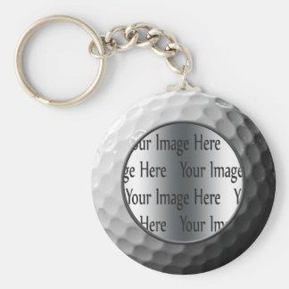 golf ball photo basic round button keychain