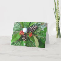 Golf ball pine cones and evergreens Christmas Holiday Card