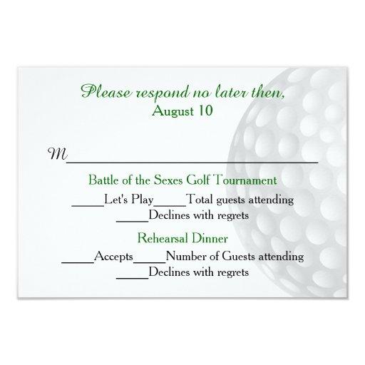 Golf Ball Pre Wedding Festivities RSVP Card 35 X 5 Invitation Card