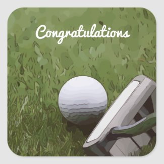 Golf ball putter Congratulation golf sticker