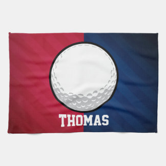 Golf Ball; Red, White, and Blue Kitchen Towel