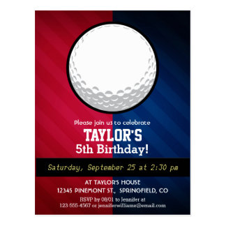 Golf Ball; Red, White, and Blue Postcard