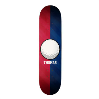 Golf Ball; Red, White, and Blue Skateboard Deck
