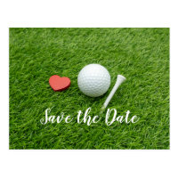 Golf ball  SAVE THE DATE with tee and love Postcard