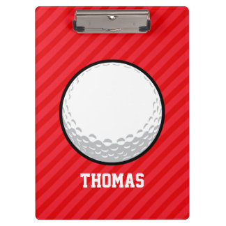 Golf Ball; Scarlet Red Stripes Clipboard