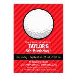 "Golf Ball; Scarlet Red Stripes 5"" X 7"" Invitation Card"