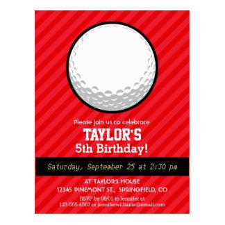 Golf Ball; Scarlet Red Stripes Postcard