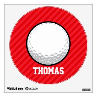 Golf Ball; Scarlet Red Stripes Room Sticker