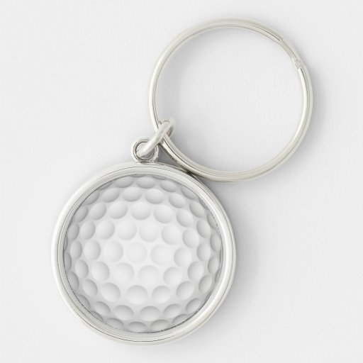 Golf Ball Silver-Colored Round Keychain