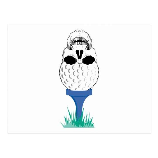 golf ball skull on tee graphic postcard