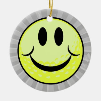 golf ball smile face Double-Sided ceramic round christmas ornament