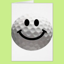 Golf ball smiley card