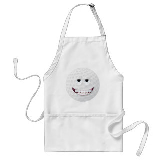 Golf Ball Smiley Face 2 Adult Apron