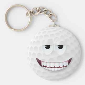Golf Ball Smiley Face 2 Basic Round Button Keychain
