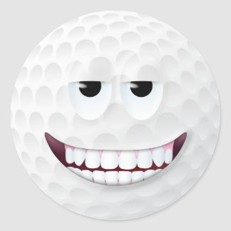 Golf Ball Smiley Face 2 Classic Round Sticker
