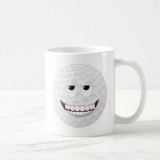 Golf Ball Smiley Face 2 Classic White Coffee Mug