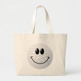Golf Ball Smiley Face Jumbo Tote Bag