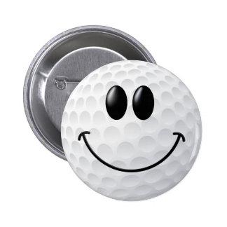 Golf Ball Smiley Face Pinback Buttons